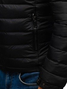 Kurtka męska zimowa pikowana czarna Denley A181