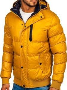 Kurtka męska zimowa pikowana zółta Denley 5839