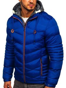Kurtka męska zimowa sportowa pikowana niebieska Denley 50A163