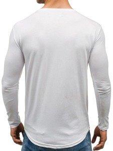 Longsleeve męski z nadrukiem biały Denley 286