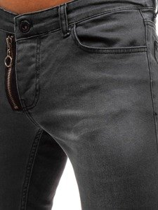 Spodnie jeansowe joggery męskie antracytowe Denley 2043