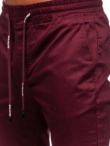 Spodnie joggery męskie bordowe Denley KA951