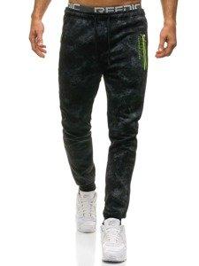 Spodnie męskie dresowe czarne Denley W1556