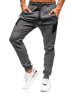 Spodnie męskie dresowe grafitowe Denley TC847