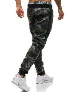 Spodnie męskie dresowe joggery moro-grafitowe Denley KK08