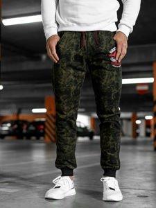 Spodnie męskie dresowe khaki Denley MK18