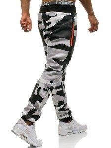 Spodnie męskie dresowe moro-szaro-pomarańczowe Denley 0801