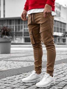 Spodnie męskie joggery bojówki camelowe Denley 1003