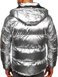 Srebrna pikowana kurtka męska zimowa Denley 1165
