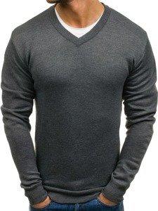 Sweter męski w serek grafitowy Denley s001