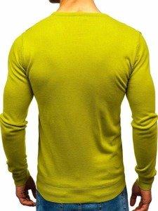 Sweter męski w serek jasnozielony Denley 2200