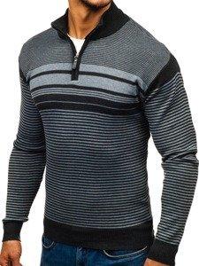 Sweter męski ze stójką ciemnoszary Denley BM6131