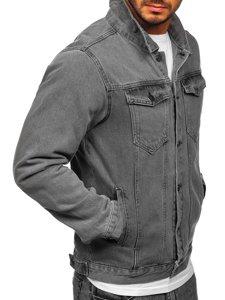 Szara jeansowa kurtka męska Bolf 2-3