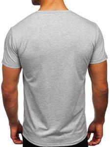 Szary T-shirt męski z nadrukiem Denley KS2552