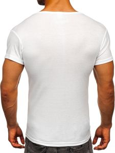 T-shirt męski bez nadruku biały Denley NB003