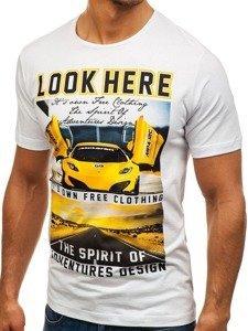 T-shirt męski z nadrukiem biały Denley 6296