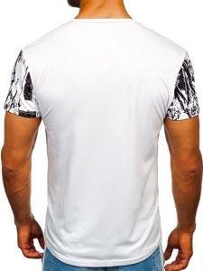 T-shirt męski z nadrukiem biały Denley SS671