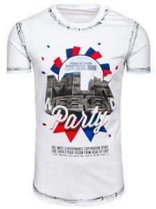 T-shirt męski z nadrukiem biały Denley s028