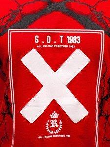 T-shirt męski z nadrukiem czerwony Denley 10875