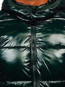 Zielona pikowana zimowa kurtka męska sportowa Denley 974