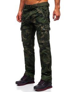 Zielone spodnie bojówki męskie z paskiem Denley 2096