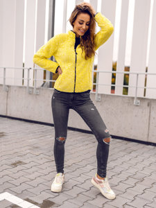 Żółta polarowa bluza damska bez kaptura Denley HH009